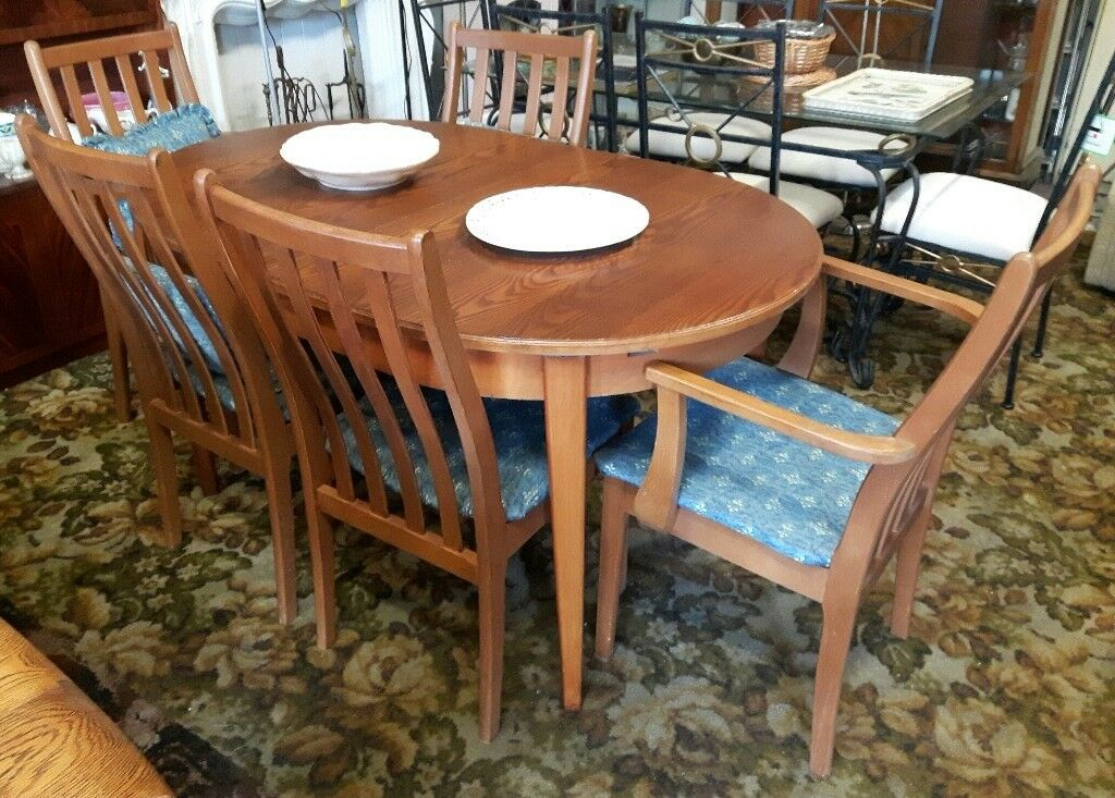 Teak Extending Dining Table Three Chairs Two Carvers
