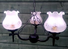 2 Chandeliers and 3 Wall Lights with glass globe shades. Solid, quality, traditional