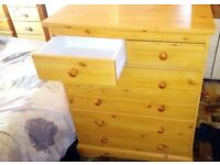 6 Drawer Pine effect chest of drawers.