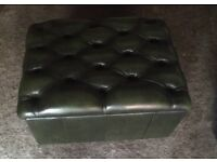 Stunning antique green chesterfield leather storage footstool