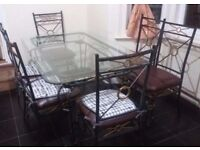 Corsica clear glass & wrought iron rectangular dining table & 6 chairs