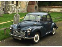 Morris Minor 4 door saloon, Trafalgar Blue, 1967, 93,000 miles, new MOT, two owners