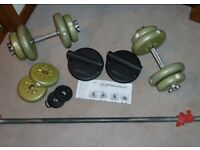 "Dumbells, Weights, Bar, and Push-up ""thingme-jiggers!"""