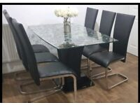 6 Seater Glass Dining Table & Chairs
