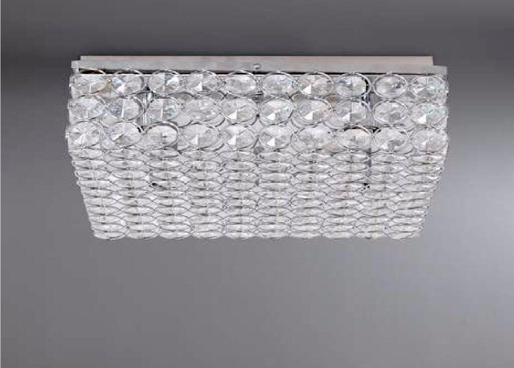 Dunelm chrome crystal sphere 4 light square modern flush fitting ceiling lounge new