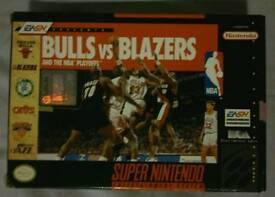"SNES ""BULLS VS BLAZERS"" GAME BOXED & COMPLETE"
