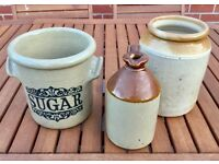 3 CERAMIC VINTAGE CLAY POTS,, MOIRA FARMHOUSE STONEWARE, JUGS, GARDEN, KITCHEN, INDOOR OUTDOOR