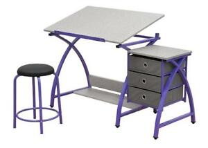 New Studio Designs Comet Center with Stool in Purple/Spatter Gray