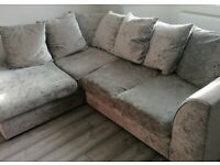 Crushed Velvet L Corner Sofa & Large Swivel Cuddle Chair