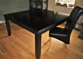 Black, Square, Dining Table & 8 High Back, Black Chairs