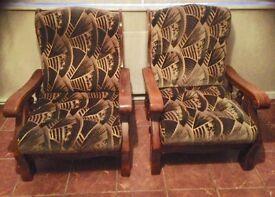 Quality oak frame armchairs x 2