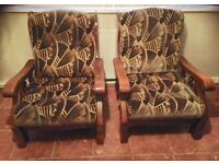 Quality oak frame armchairs x 2