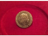 1818 SOVEREIGN. GOLD PLATED