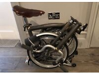 NEW Brompton Bike Folding M3R RRP £1380 Upgraded: Brooks Saddle, Raw Lacquer, Rear Rack, Basket