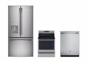 Combo cuisine stainless : Frigo 33'', cuisinière 30'' et lave-vaisselle 24'', GE Profile
