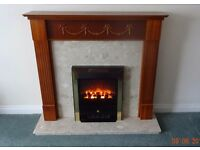 Marble Hearth and backing Electric Fireplace with Wooden Surround