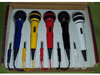 Set of 5 Coloured DJ Disco Vocal Karaoke Microphones Red Blue Yellow Black & White