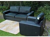 Ex-display Mission Black Leather 3 Seater Sofa and Arm Chair set