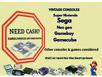Need some CASH? games / consoles / old retro Nintendo sega Xbox ps4 gameboy snes WANTED