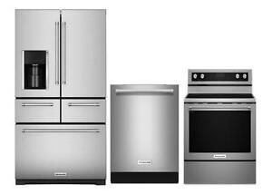 Combo cuisine KitchenAid stainless : Frigo 36'', cuisinière 30'' et lave-vaisselle 24''