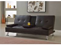 Brand New 3 Seater Leather Sofa Bed with Cup Holder, Click Clack Small Double Bed