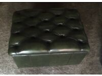 Stunning chesterfield antique green leather storage footstool