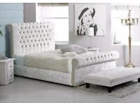 """4FT6"""" Double Diamante Bed Frame. Sleigh Bed. Only £279"""
