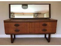 Vintage Retro Teak 4 Drawer Dressing Table with Mirror