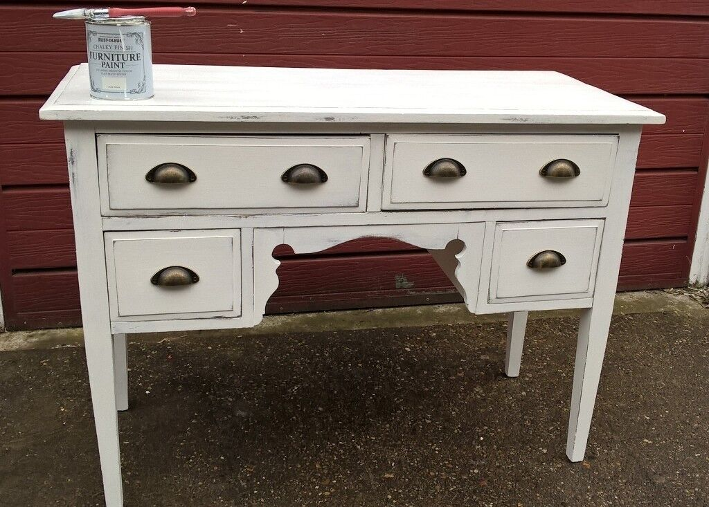 1940's smaller dressing table painted Rustoleum 'Chalk White' distressed wax finish.