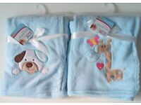 Baby boy soft fleece blanket with embroidery