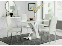 White High Gloss Dining Table Set and 4 Leather Chairs Seats Seater