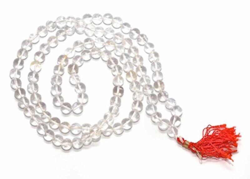 Sphatik / Quartz Crystal Mala 108+1 Beads 6-8mm Original Rosary Prayer & Healing