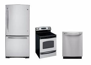 Combo cuisine stainless : Frigo 30'', cuisinière 30'' et lave-vaisselle 24''