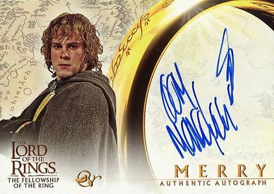 Lord Of The Rings FotR Autograph Card Dominic Monaghan As Merry