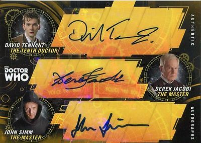 Doctor Who Signature Series Gold Triple Autograph Card 1/1 Tennant Jacobi Simm