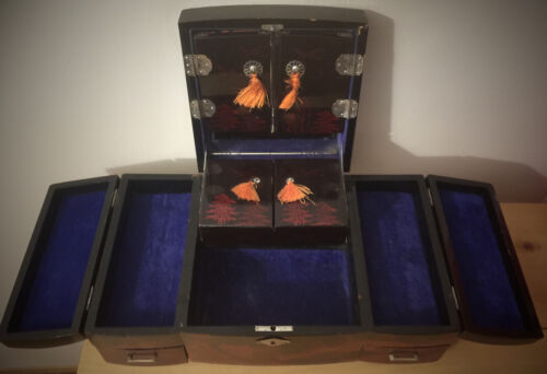 Vintage Japanese Jewelry Box, Large Lacquer Hand Painted, Mirrors with Doors