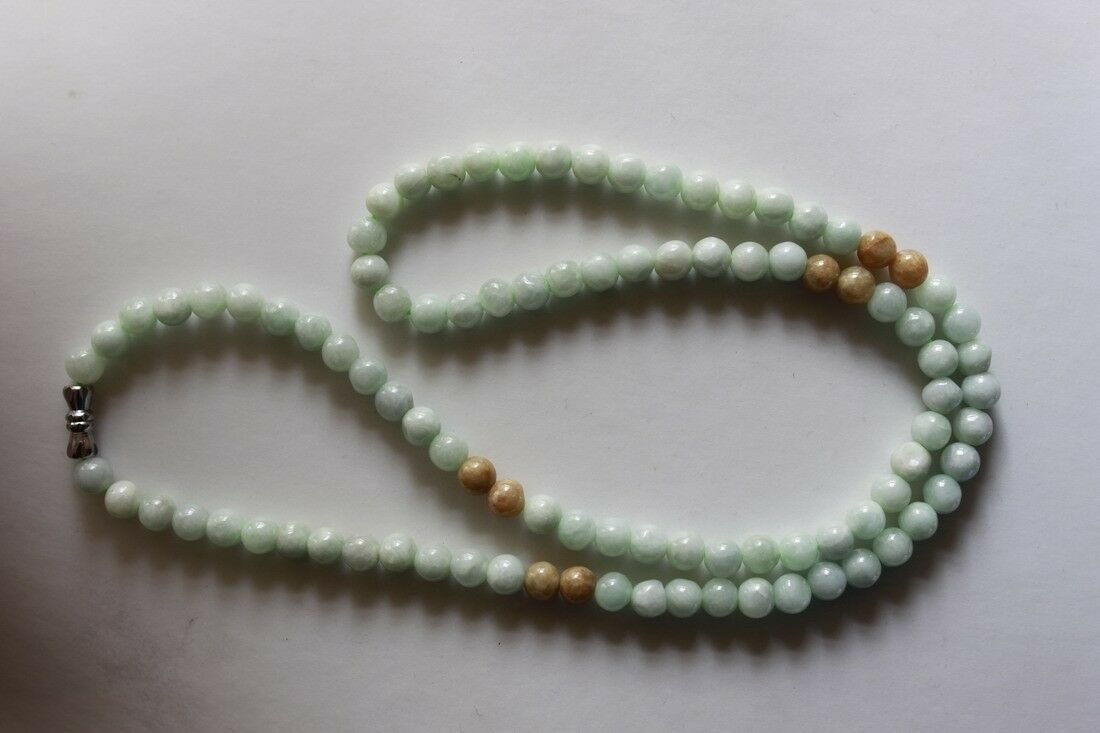 "100% Natural Untreated ""A"" Beautiful Chinese Jadeite Jade Beads Necklace 6mm 21"""