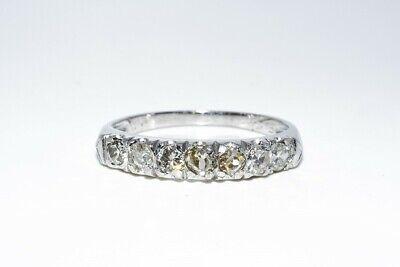 $2,100 .71CT ANTIQUE ART DECO NATURAL OLD MINE CUT WHITE DIAMOND PLATINUM BAND