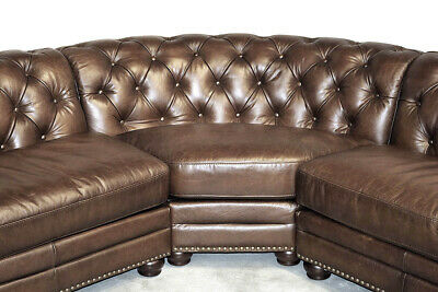 Best NEW Chesterfield Top Grain Mocha Brown Leather 4 Section Sofa RH Quality - $5,295.00