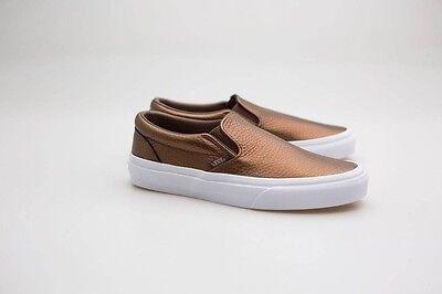 Vans Women Classic Slip-On - Metallic Leather brown saddle - Saddle Shoes Vans