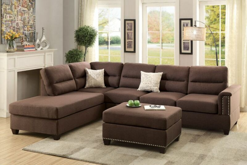 Chocolate Polyfiber 3pc Sectional Sofa Set Reversible Chaise Sofa Ottoman Pillow
