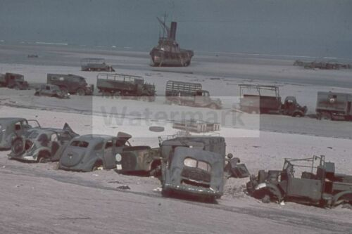 Abandoned allies automotive equipment on the beach , Dunkirk WW2 photo 4x6 #13