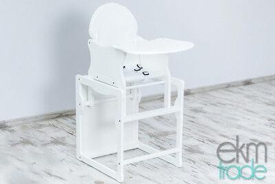 1 Holz-hochstuhl (Kinderhochstuhl 2 in 1 Kombi Baby Hochstuhl Stuhl Tisch Holz Weiss ekmTRADE)