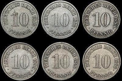 KAISERREICH: 10 Pfennig 1899 A D E F G J. Jaeger 13. JAHRGANG KOMPLETT.