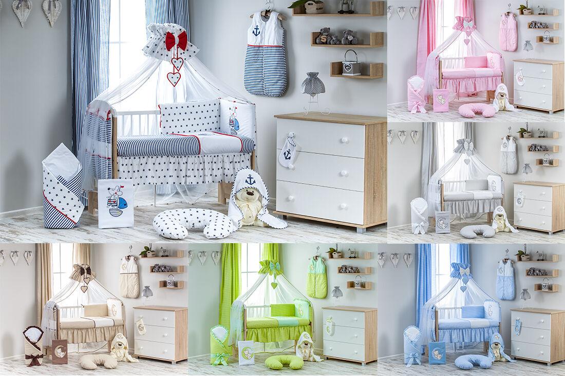 WOW 12 TEILIG BABYBETT SET komplett Bettwäsche Himmel Bett Babyzimmer ekmTRADE