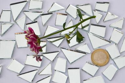 105g Spiegelmosaik Formen-Mix 15-35mm silber Spiegelsteine ca. 48 Stück