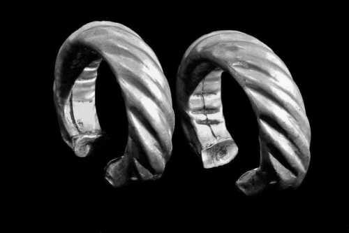 19th Century Old Pawn Mixed White Metal Thai Akha Padaung Bracelet Pair: 1880!