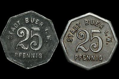 Zink-eisen - (NOTGELD: 25 Pfennig Zink & Eisen. F 64.1 & 2. BUER / WESTFALEN ⇒ GELSENKIRCHEN.)