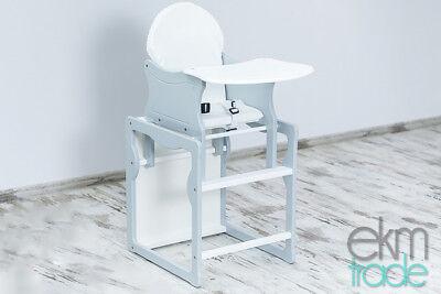 1 Holz-hochstuhl (Kinderhochstuhl 2 in 1 Kombi Baby Hochstuhl Stuhl Tisch Holz Grau ekmTRADE)