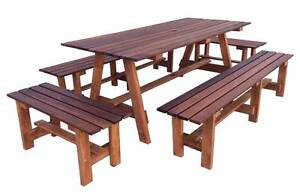 Outdoor Merbeau Wooden dining table set with stools Dingley Village Kingston Area Preview